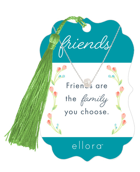 Friends are the Family you Choose - Pearl Necklace with Bookmark - Silver