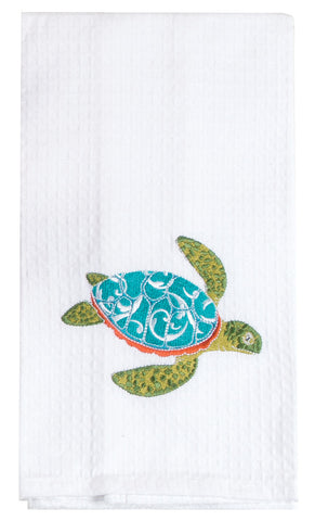 Sea Turtle Embroidered Waffle Towel