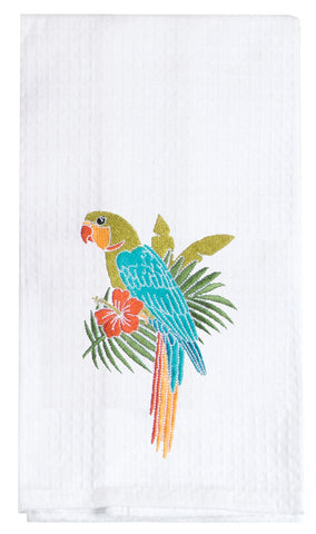 Parrot Embroidered Waffle Towel
