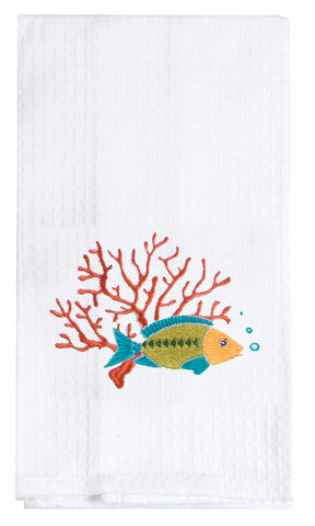 Fish Embroidered Waffle Towel