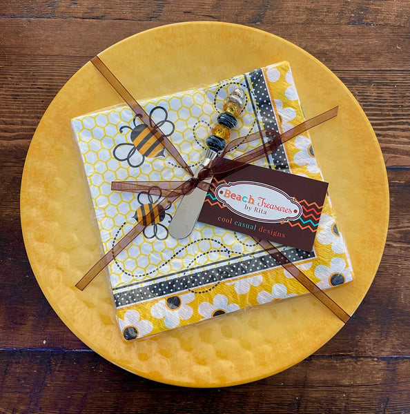 Bee Plate with Napkins and Butter/Jam Knife