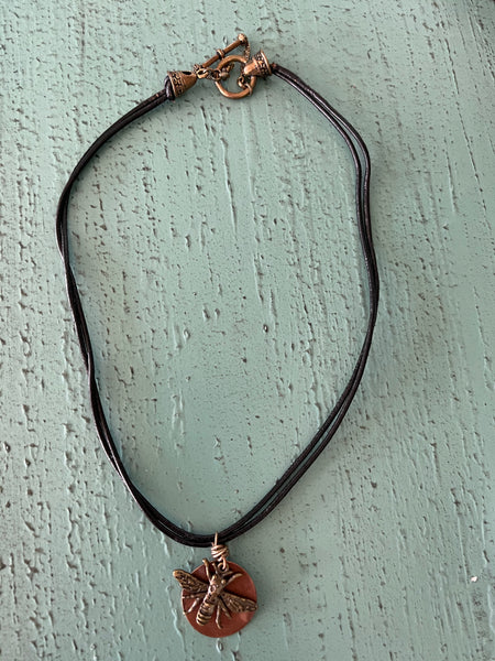 Bee Charm with Copper Disc Necklace