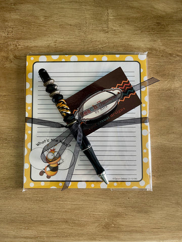 What's the Buzz - Bee Note Pad with Handmade Lampwork Beaded Pen