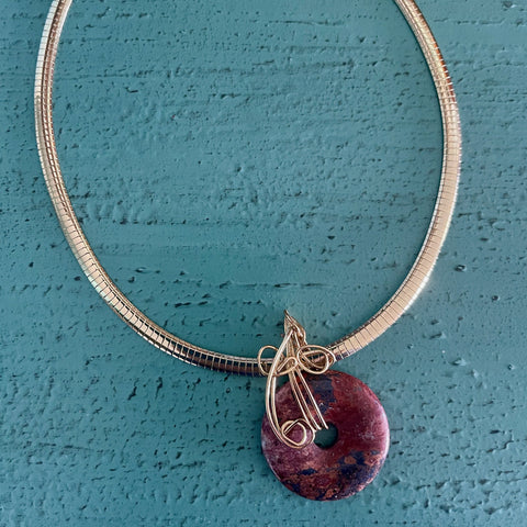 Red Jasper Focal Bead with 6mm Omega Chain