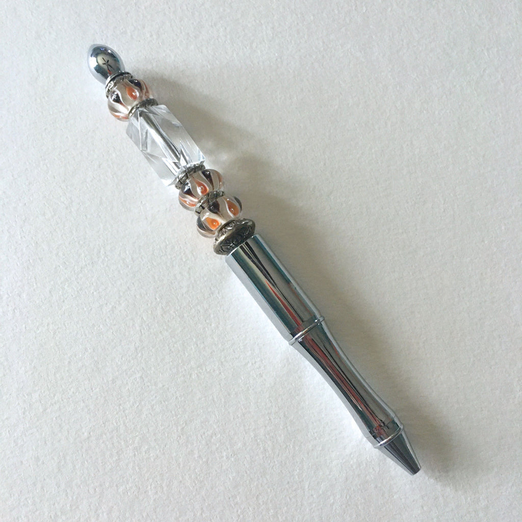 Beaded Pen -  Silver with Lampwork Beads