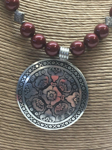 Swarovski Necklace with Bali Style Focal Pendant - Bordeaux