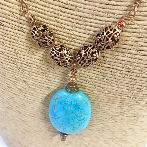 Turquoise & Copper Necklace - Antique Copper Filigree Beads with Copper Chain