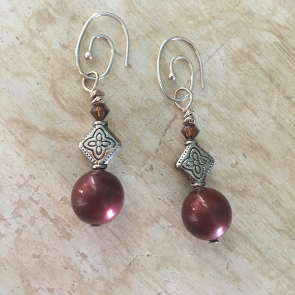 Swarovski Pearl and Crystal  with Bali Style Decorative Beaded Earrings