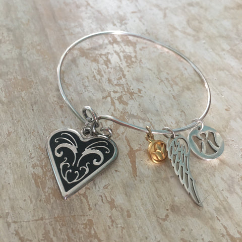 Bangle - My Guardian Angel Memory Bracelet, Angel Wing, Angel