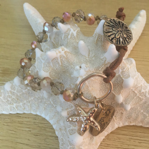 Bracelet - Beaded Leather with Sand Dollar Clasp, Starfish/Beach Scene Charms