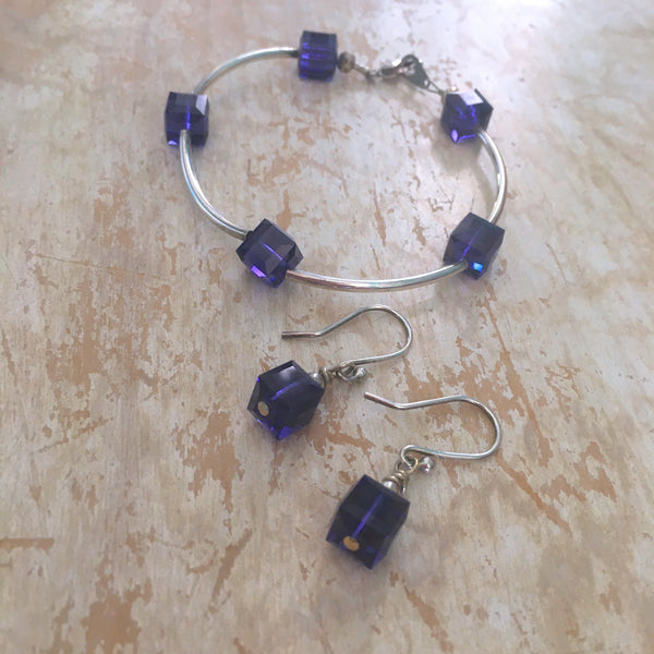 Bracelet - Swarovski Purple Cubes with Sterling Silver Tube Beads