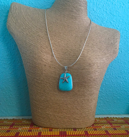 Necklace - Turquoise/Starfish Pendant with Sterling Silver Chain