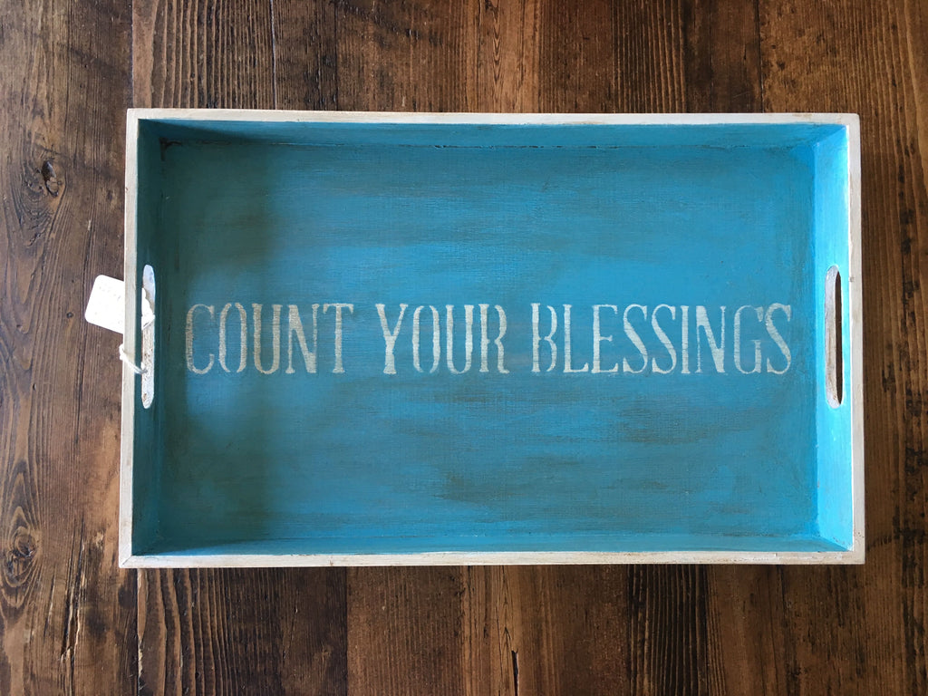 Wood Tray - Count your Blessings