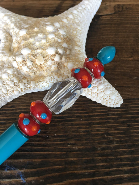 Beaded Pen - Turquoise & Red Bumpy Bead