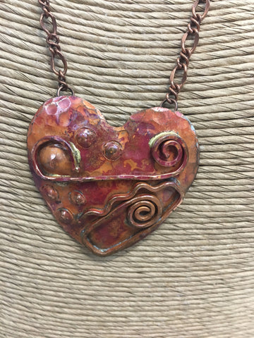 Hand Forged Deco Copper Heart Necklace