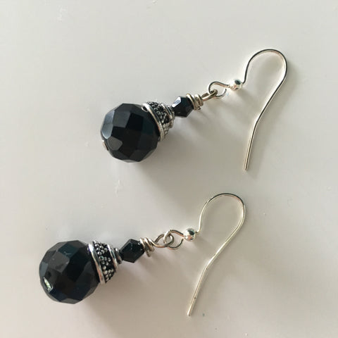 Earrings - Black Swarovski and Bali Sterling Silver