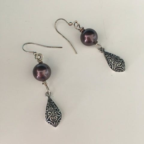 Earrings - Swarovski Burgundy Pearl with Bali Silver Accents