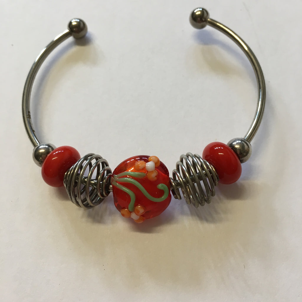 Bangle - Red Flowers Lampwork
