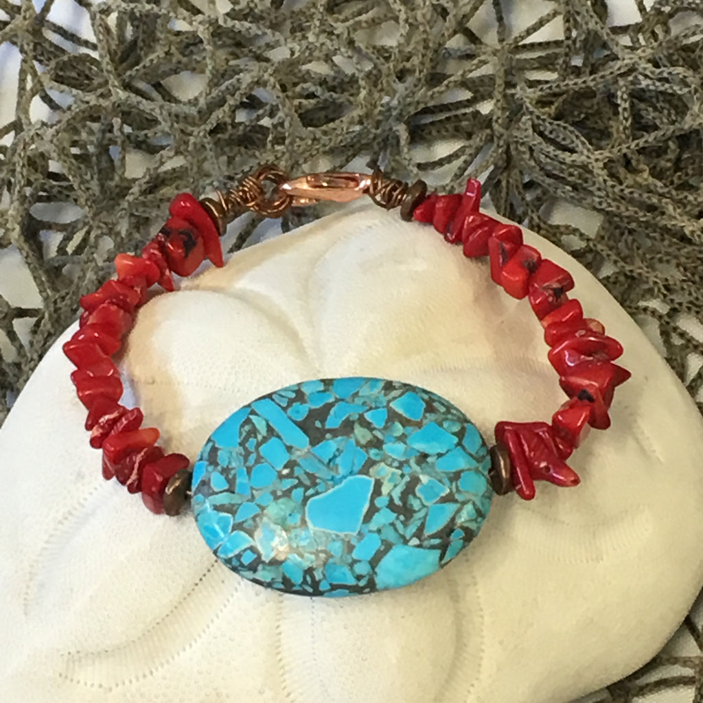 Turquoise Focal Bead and Red Coral Bracelet