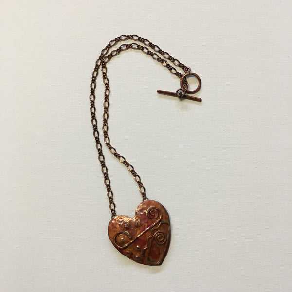 Necklace - Hand Forged Deco Copper Heart