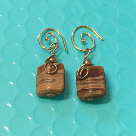 Earrings - Brown Fossil Stone & Wire Wrap