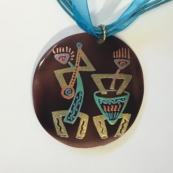 Necklace - Kokopelli with Silk Cord