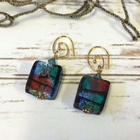 Earrings -  Multicolor Murano Foil Glass