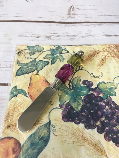 Napkin Gift Set with Handmade Canape Knife/Butter Spreader -  Grape Escape