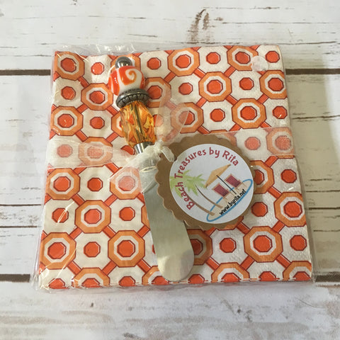 Napkin Set with Handmade Canape Knife/Butter Spreader -  Orange Geo