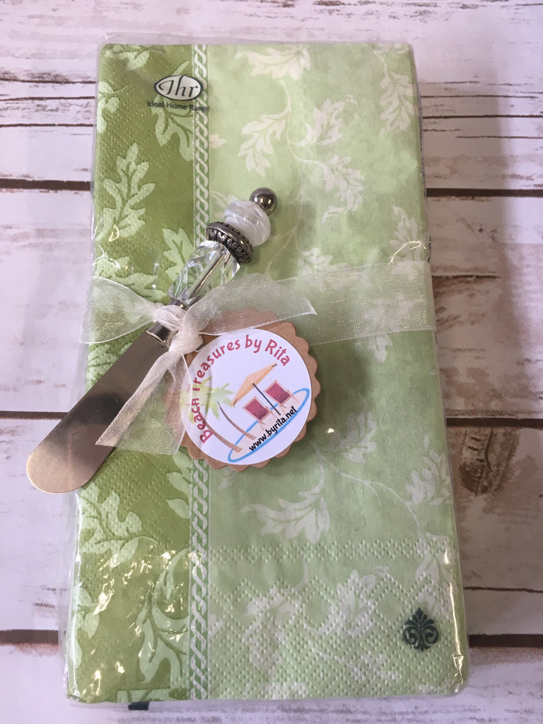Napkin Set with Handmade Canape Knife/Butter Spreader -  Green Gardens