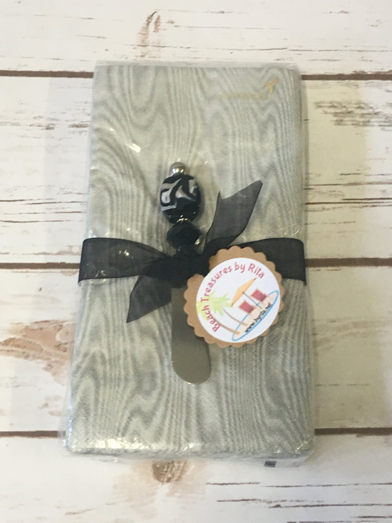 Napkin Gift Set -  Canape Knife/Butter Spreader - Midnight Oasis