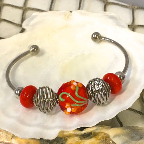 Bracelet - Handmade Lampwork Bead with Flower Detail Bangle