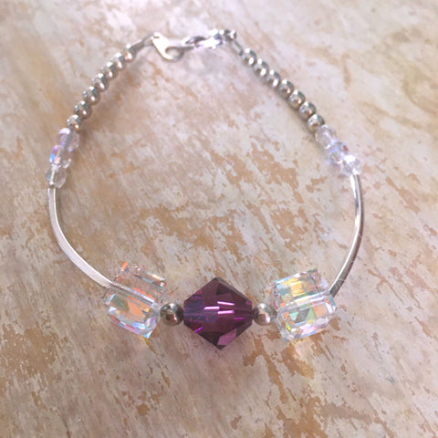 Swarovski Purple Cube with Silver Tube Beads and Crystal Accent Bead Bracelet