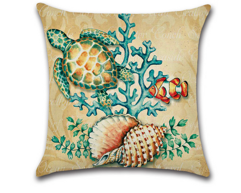 Pillow Covers - Sea Turtle with Shells and Clown Fish