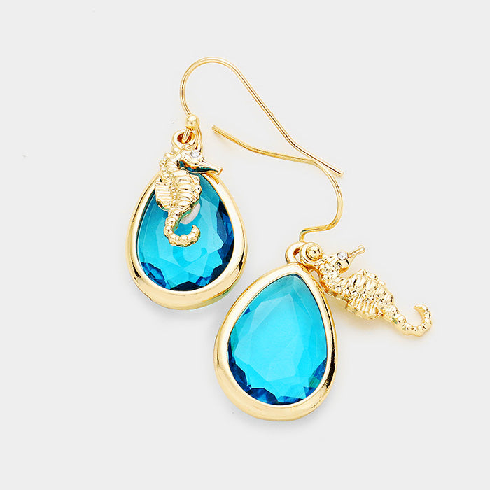 Earrings - Seahorse Teardrop