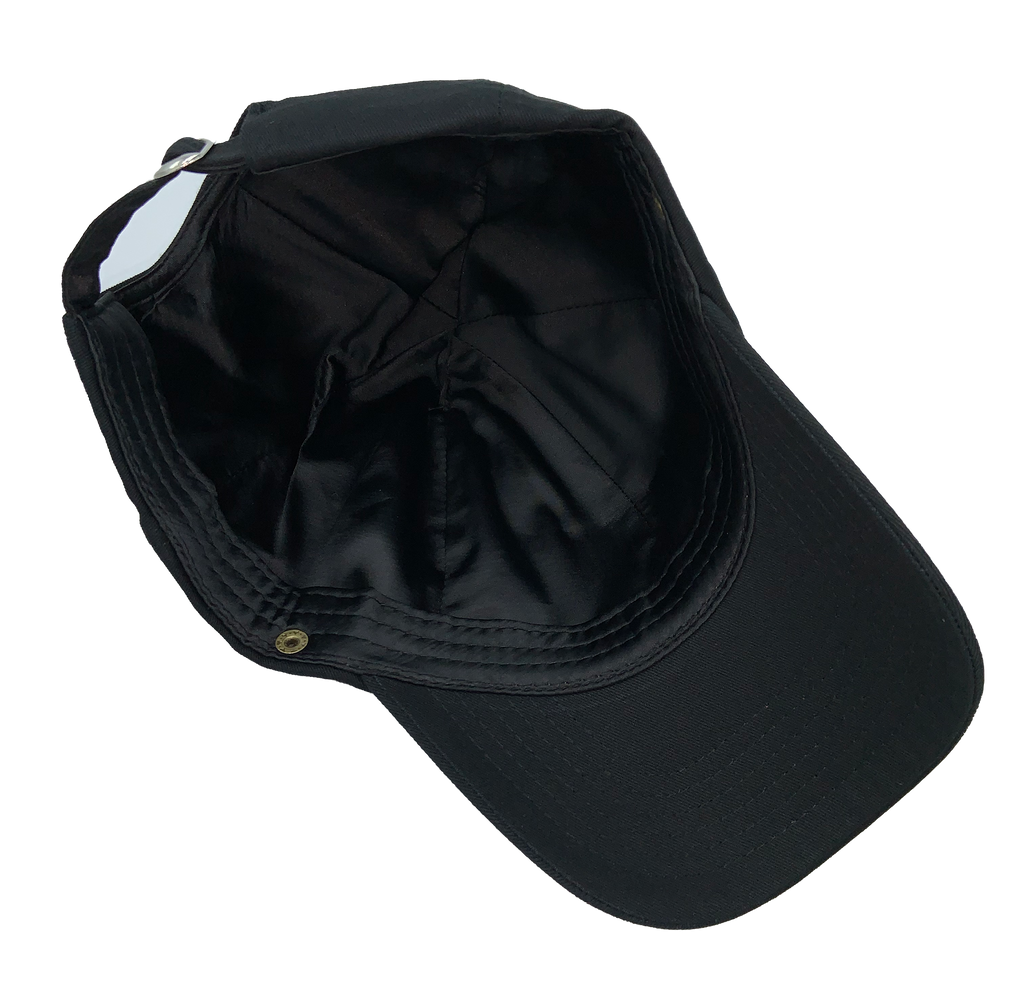 Black Satin Lined Baseball Caps (Optional Removable Face Shield)