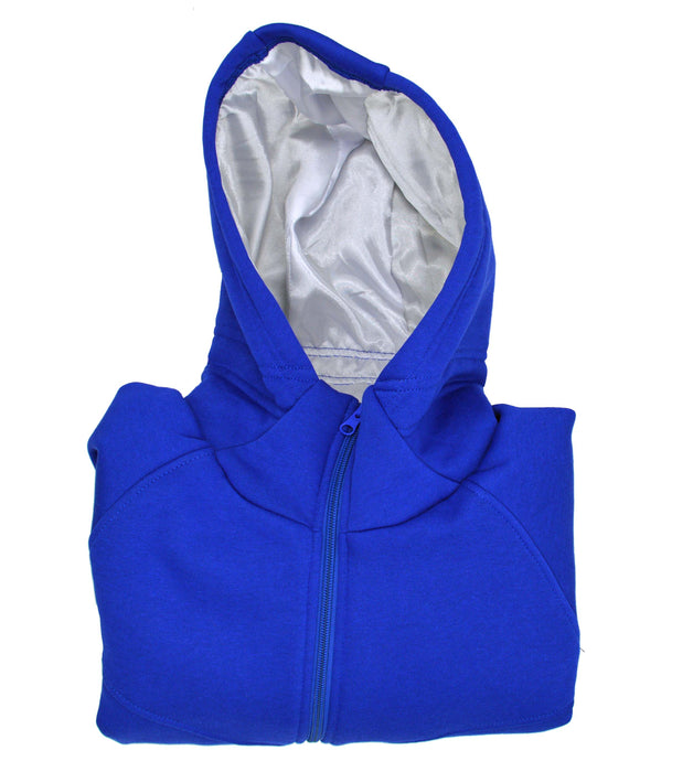 Women's Satin Lined Hoodie (Royal Blue and Pure White Satin) - Keep Your Hair Headgear, LLC