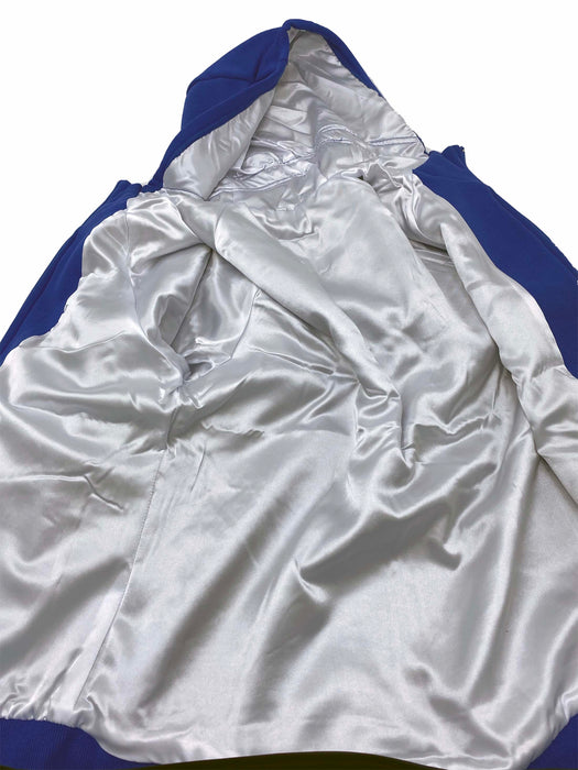 Women's Satin Lined Hoodie (Royal Blue and Pure White Satin)