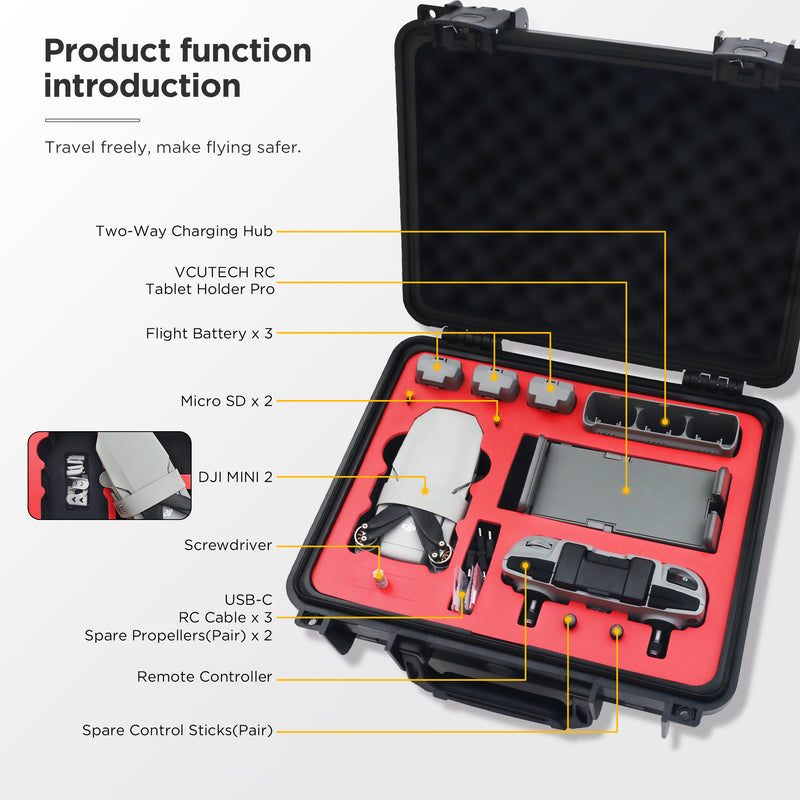 VCUTECH Mini 2 Waterproof Hard Carrying Case Compatible with DJI Mini 2 Drone/Fly More Combo & Drone Accessories, Mavic Mini 2 Accessories, Anti-Crash with Full Protection (Mini 2, Black)