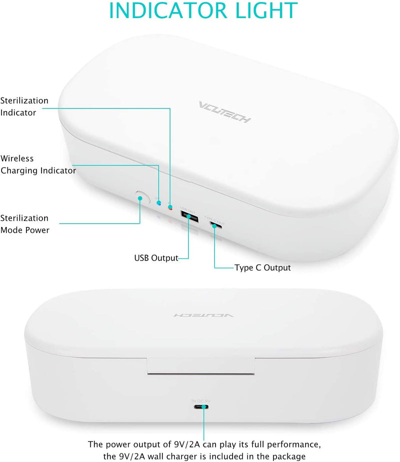 2020 UV Phone Sanitizer Box, Kills Up to 99.9% of Bacteria & Viruses, UVC Light Disinfector, 10W Max Fast Wireless Charging for iOS Android Smartphone 1 Year Warranty by VCUTECH (White)