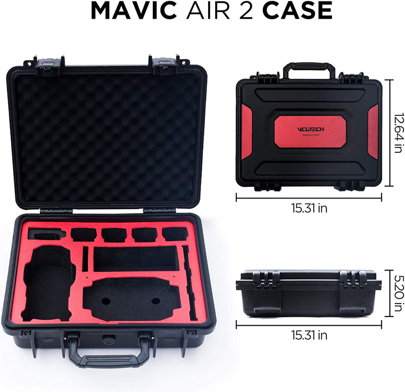 2020 VCUTECH Waterproof Hard Carrying Case Compatible with DJI Mavic Air 2 Drone/Fly More Combo & Drone Accessories, Top Grade Foam Insert, Anti-Crash with Full Protection (Black)