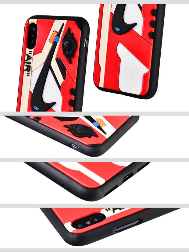 OW x AJ 1 Chicago Black Trim 3D Sneaker iPhone Case