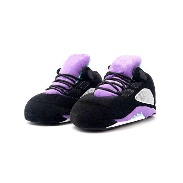 5 Black/Purple Plush Slippers