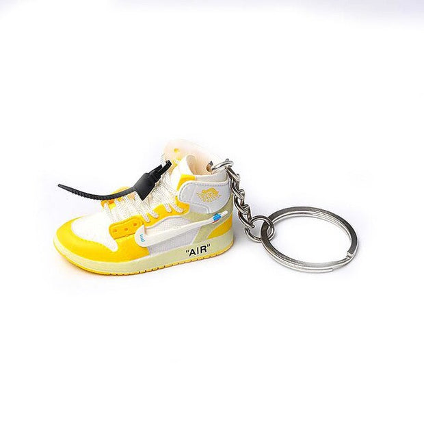 AJ1 Off-White Yellow 3D Keychain - 3D Kicks Tech