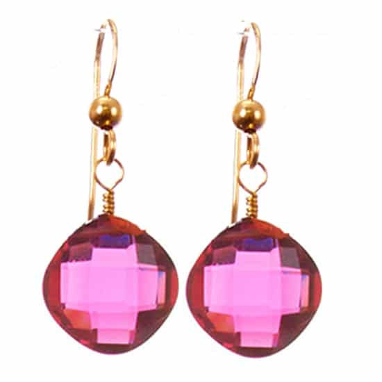 Cushion Earrings-Ruby Quartz