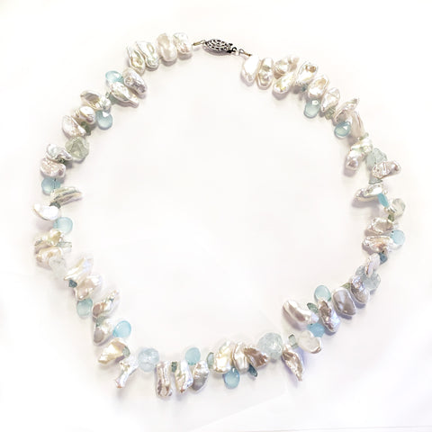 Keshi Pearl & Aquamarine Necklace