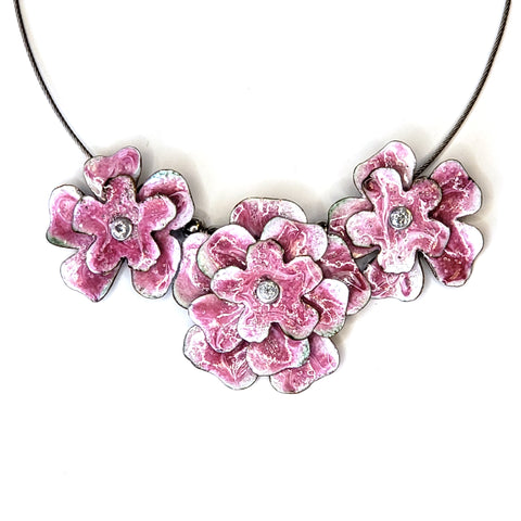 Triple Blossom Necklace-Pink