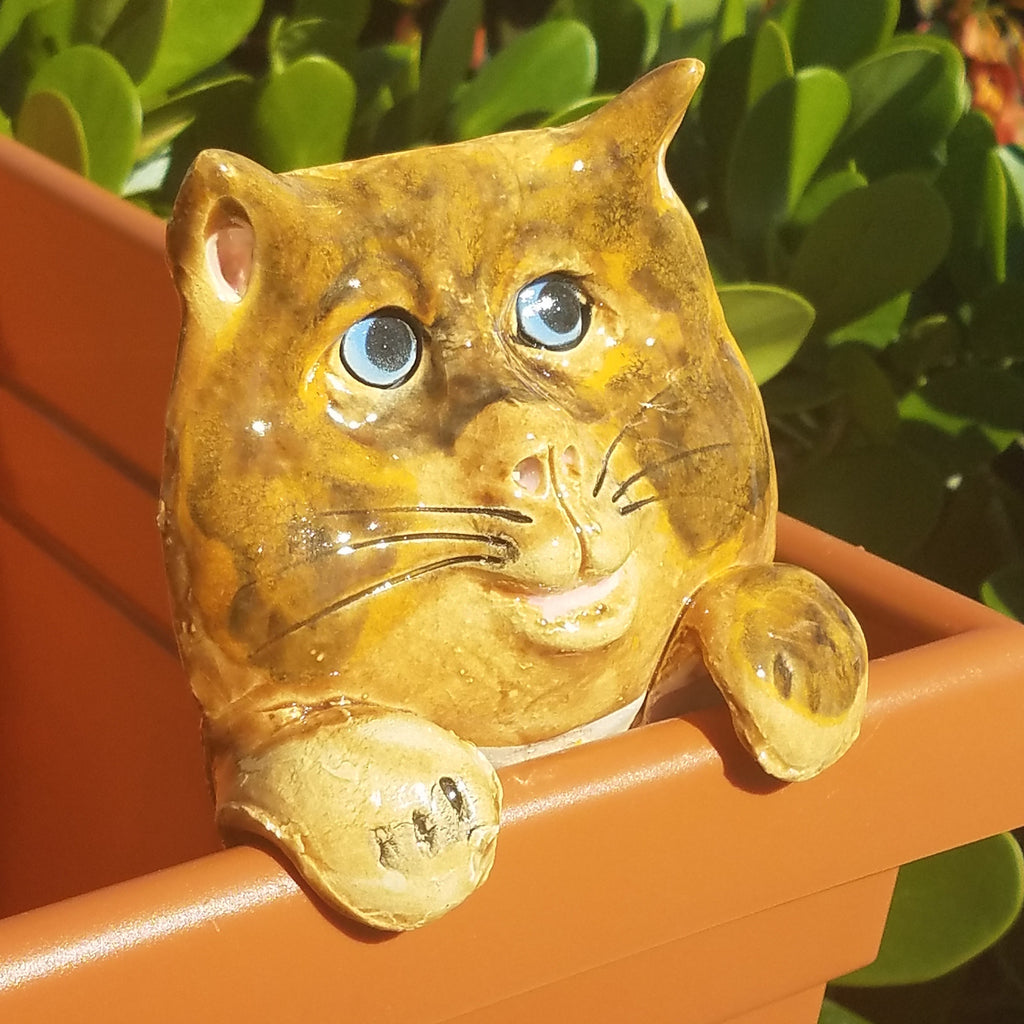 Flower Pot Friend-Orange & Brown Cat