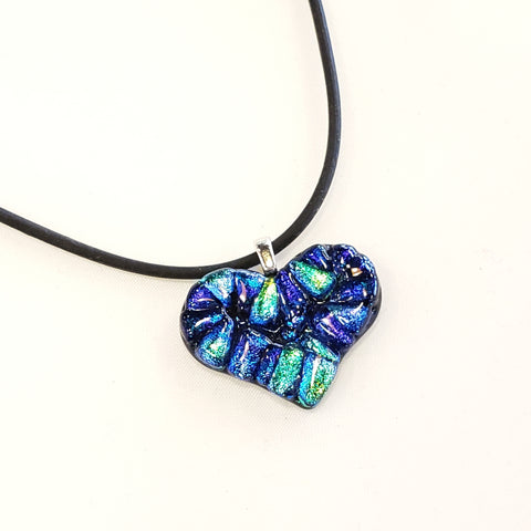 Dichroic Mosaic Heart Necklace