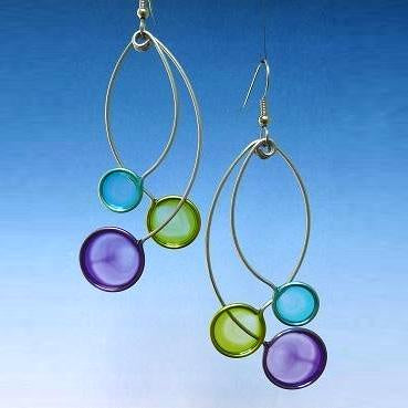Resin Earrings-Aqua, Green, Purple